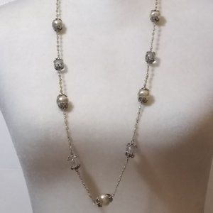 Vintage TRESKA Faux Pearl and Clear Bead Necklace
